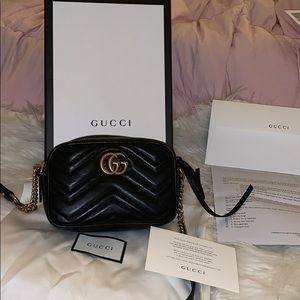 Gucci Mormont Black Leather matelasse mini bag